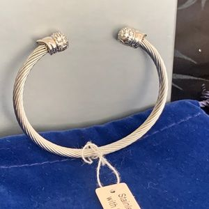 Jewelry - Stainless Steel Cuff Bracelet Sterling End Caps
